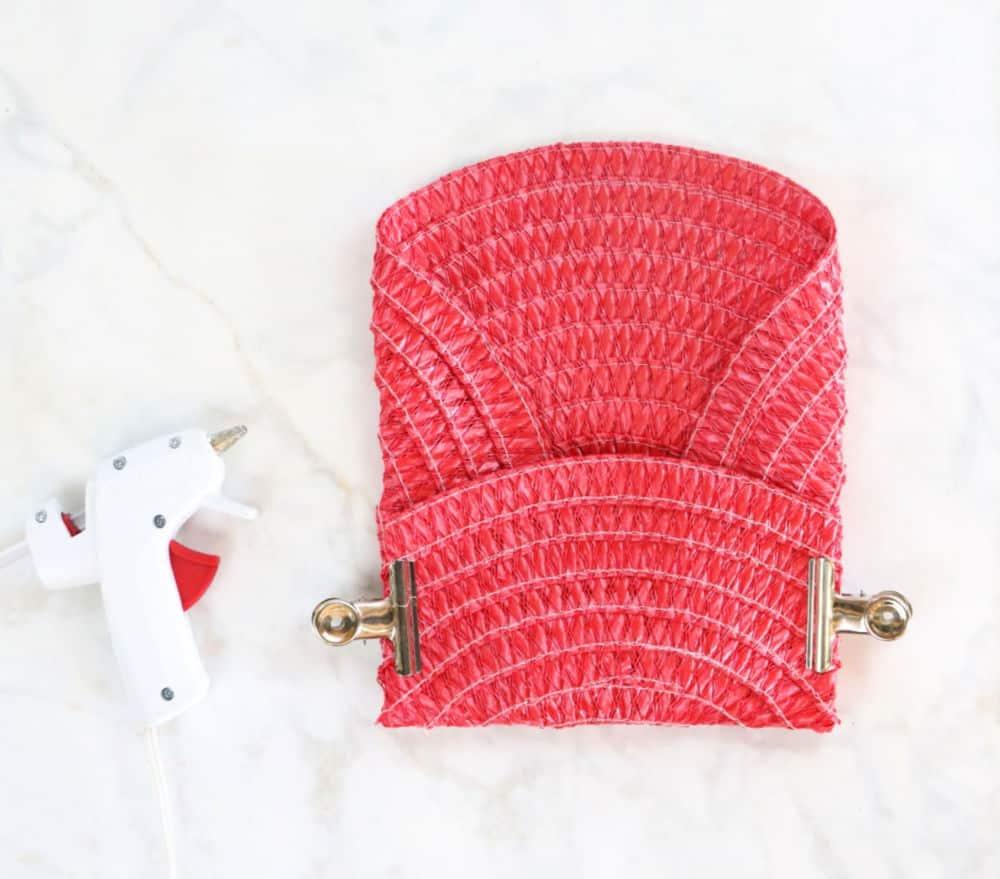 Dollar store place mat clutch purse step 3