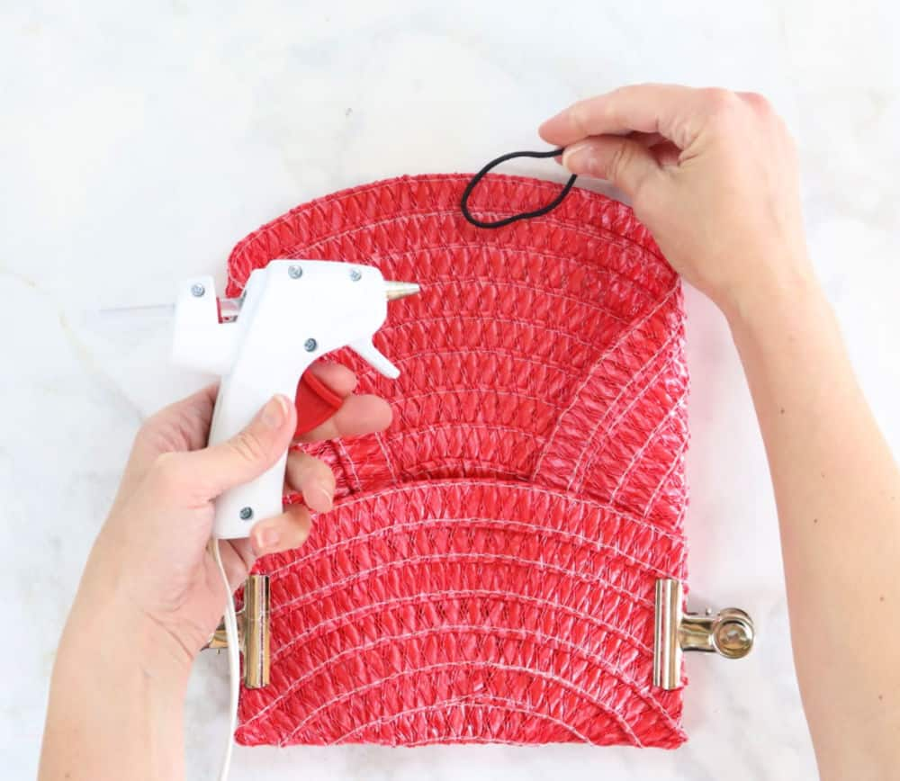 Dollar store place mat clutch purse step 4
