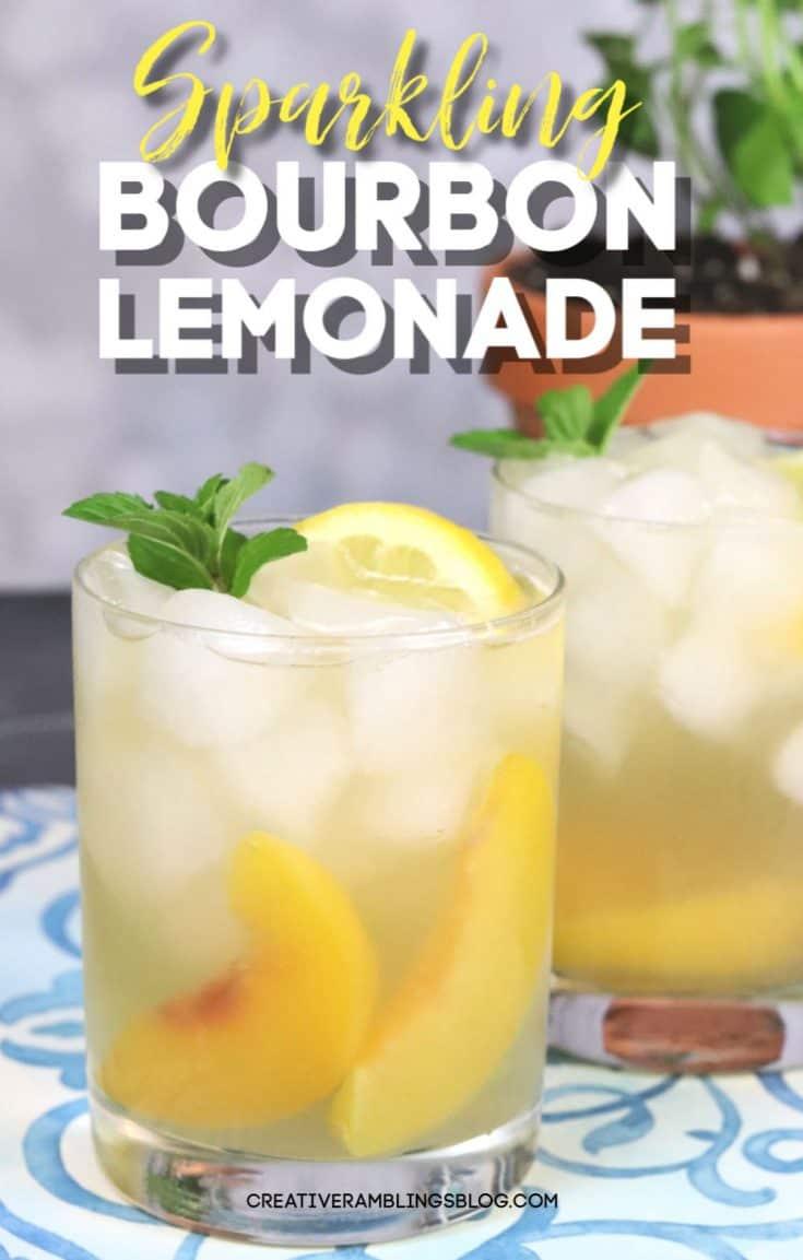 A classic cocktail with a twist. Recipe for sparkling bourbon lemonade with a peach twist. #bourbon #cocktail #lemonade