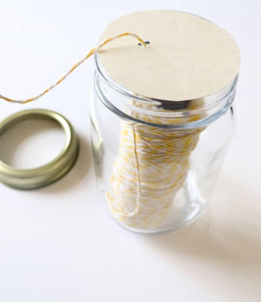 how to organize twine with a mason jar