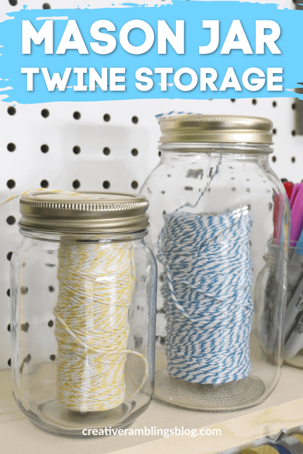 mason jar twine storage for your craft room 1
