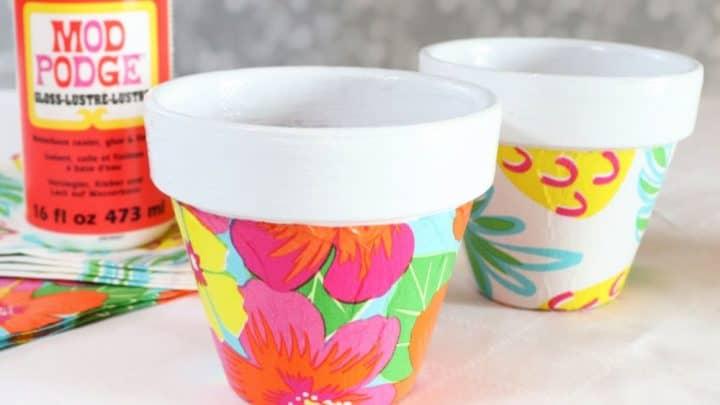 Floral Mod Podge Terracotta Pots square