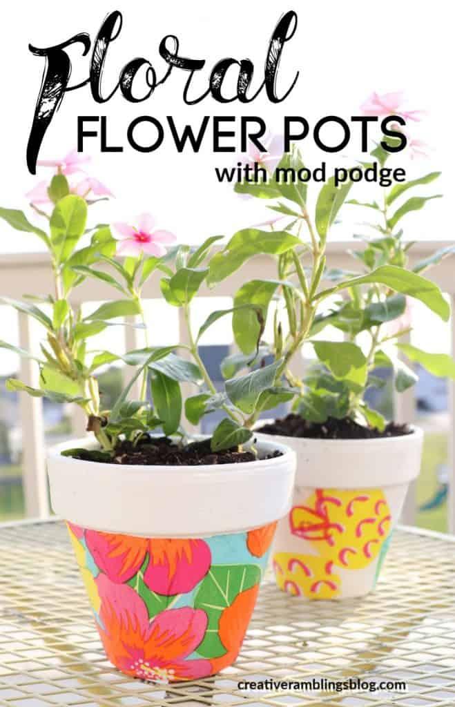 Floral Mod Podge terracotta pots