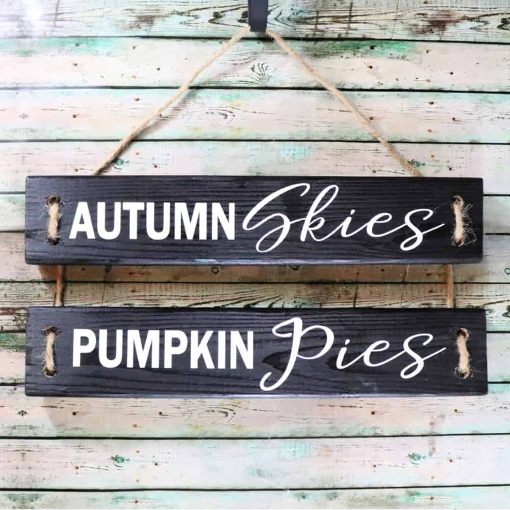 2x4 DIY fall wood sign with vinyl
