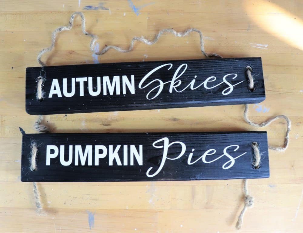 DIY fall wood sign with rope and vinyl