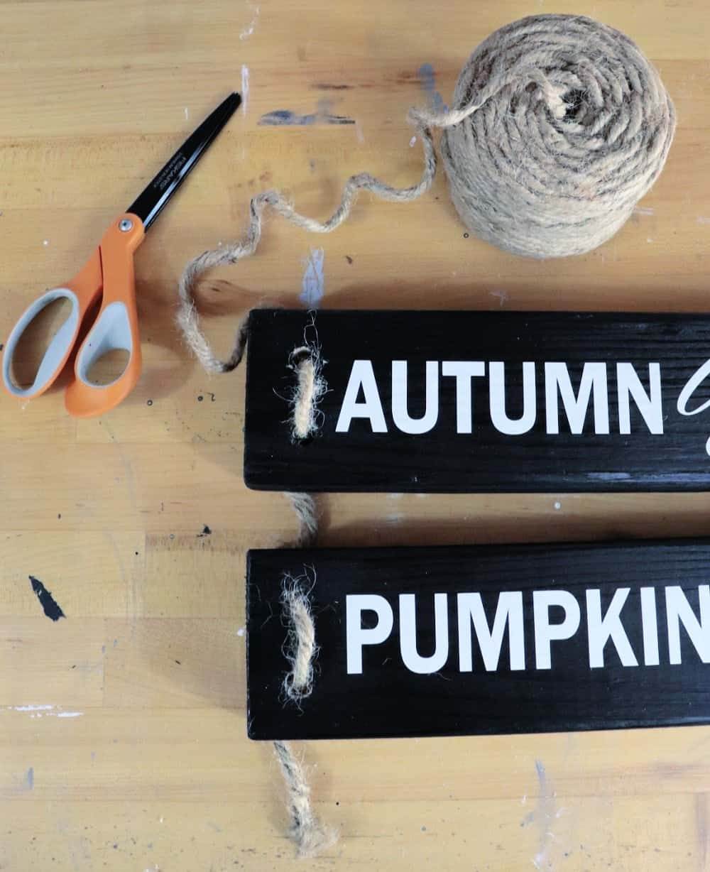 Rope DIY fall wood sign with vinyl