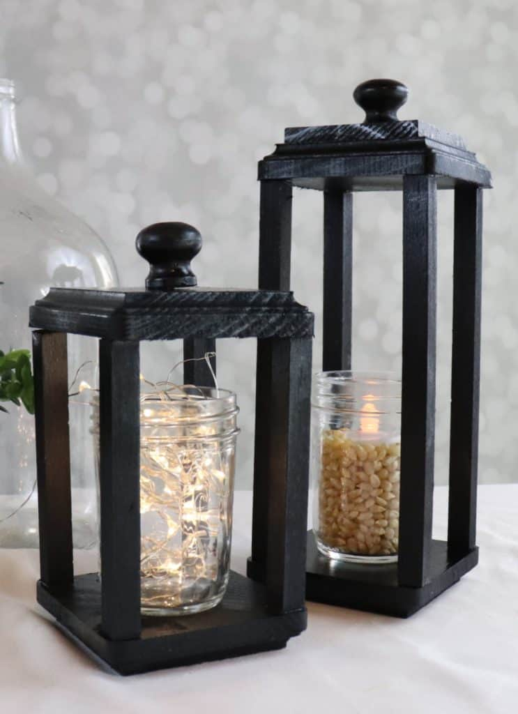 DIY black wood lantern