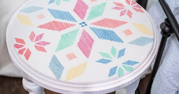 DIY Round Side Table with Antique Legs and Vintage Quilt Stencil