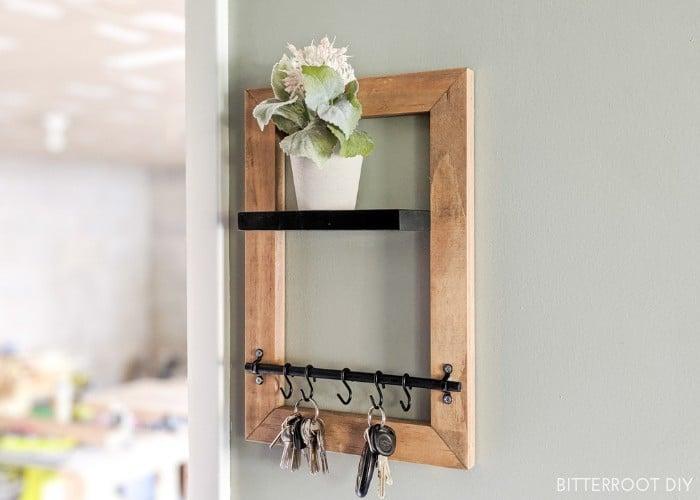 DIY Key Holder with Floating Shelf