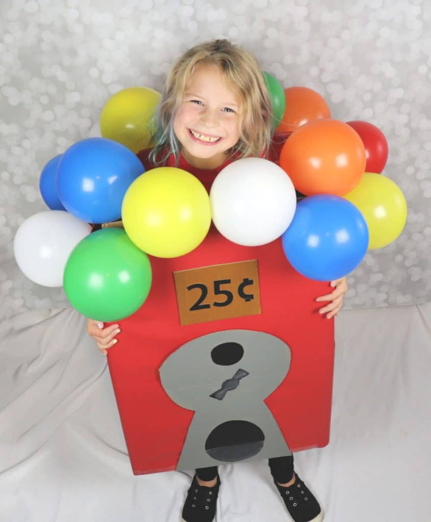 gumball machine costume made from a box