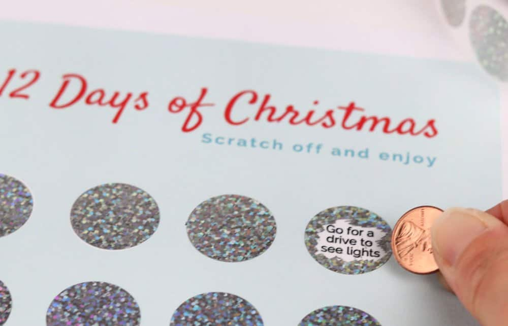 Christmas Countdown Printable with Scratch Off Stickers 1