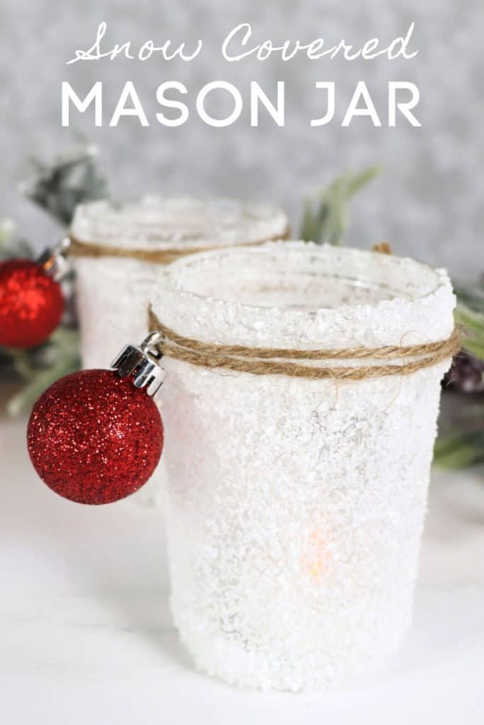 Dollar Tree Snow Covered Mason Jar