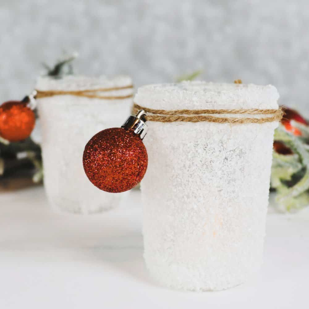 Easy Snow Covered Mason Jar Craft - Creative Ramblings