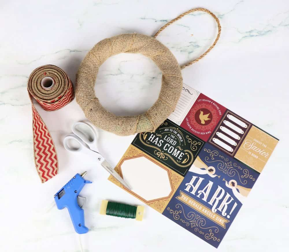 Easy burlap bow wreath supplies