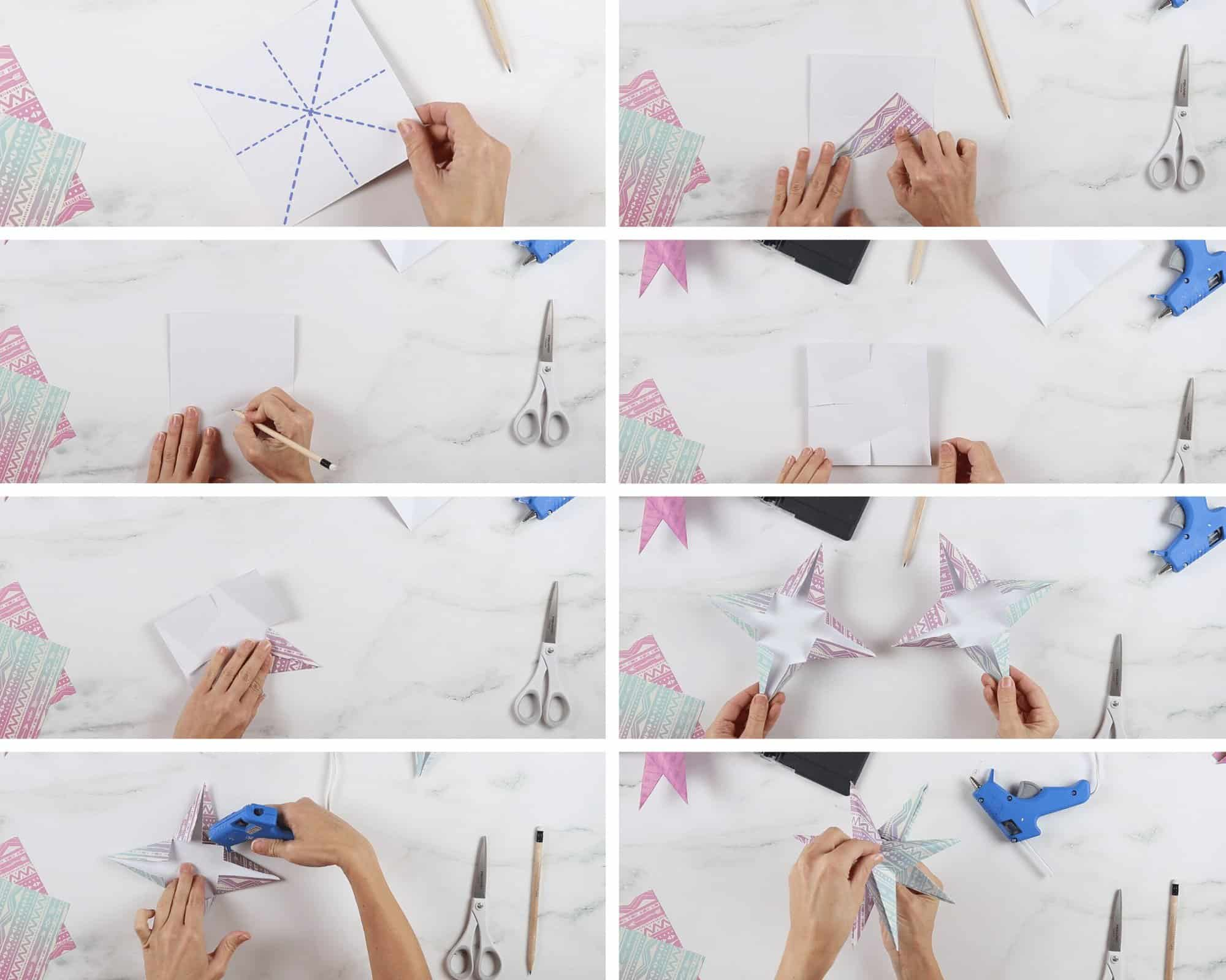 How to make a paper star ornament - origami folding