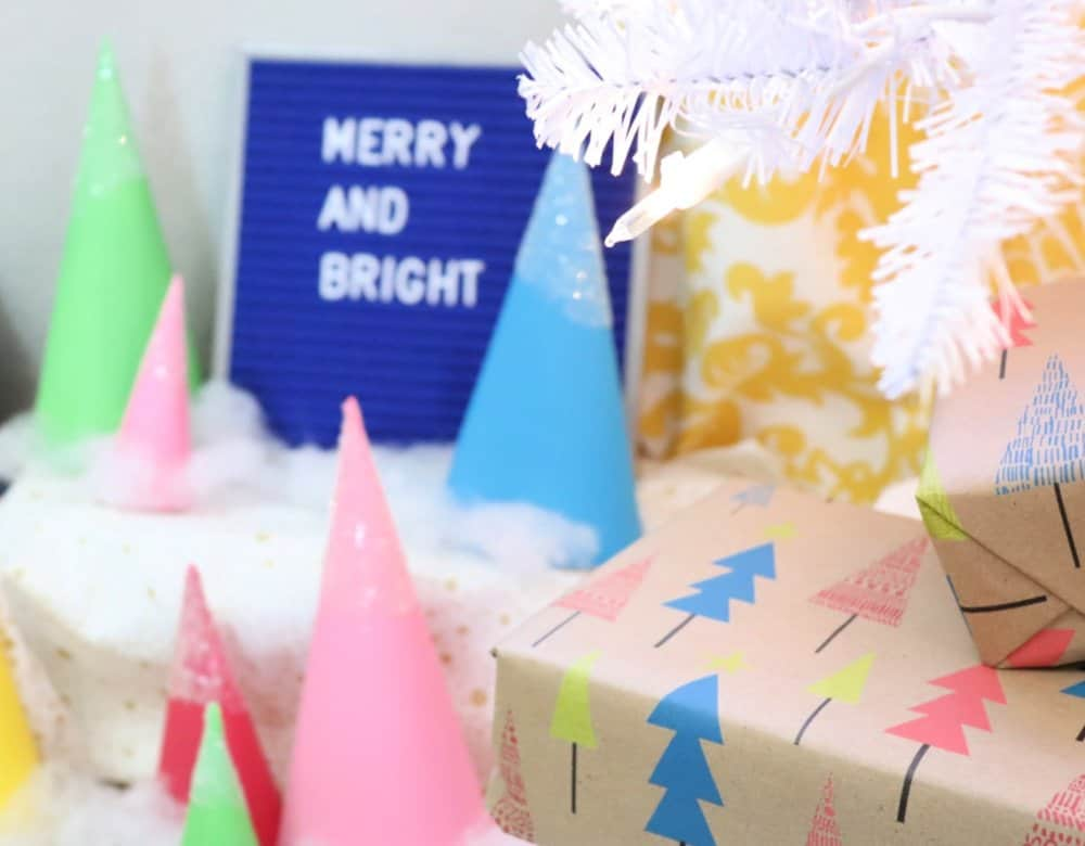 White christmas tree paper cones