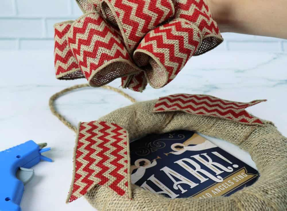 add bow to burlap bow wreath