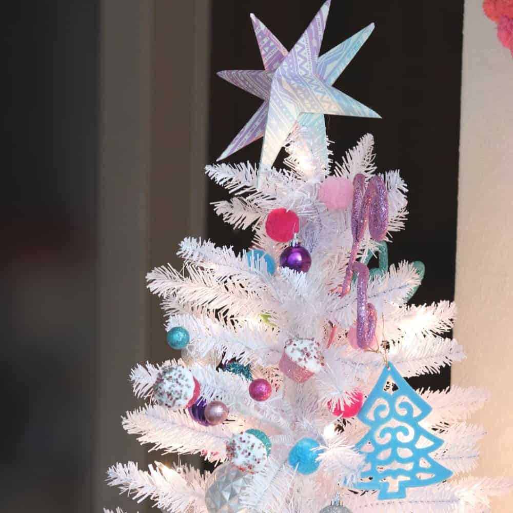 colorful white christmas tree - creative ramblings
