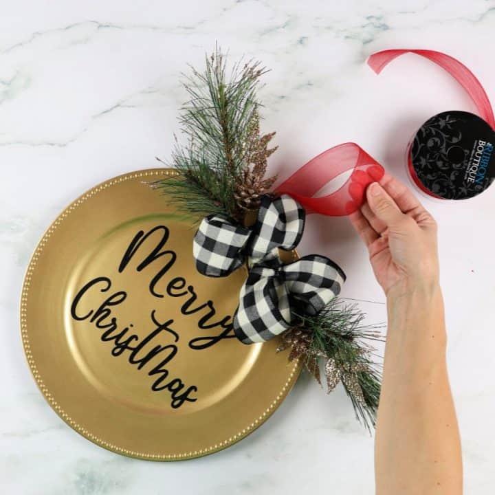 dollar tree christmas door decor with ribbon