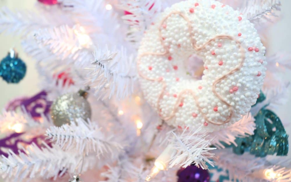 white christmas tree donut ornament
