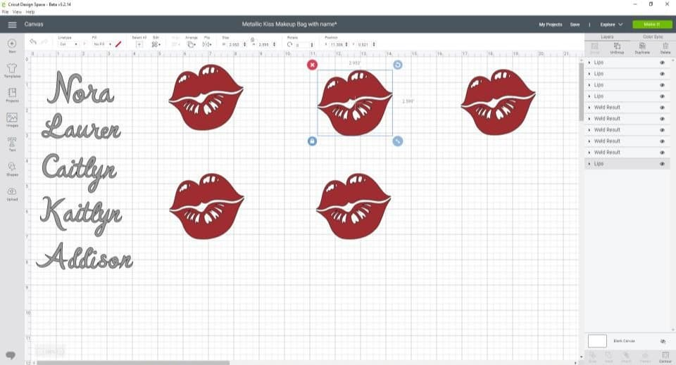 Cricut design space lips and names (1)