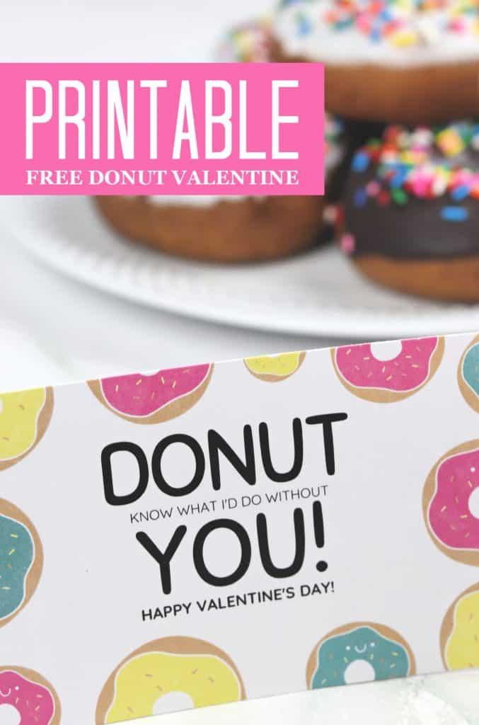 Free printable donut Valentine