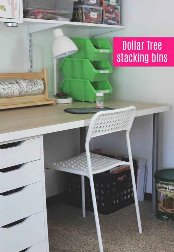 Kids desk in playroom with dollar tree bins