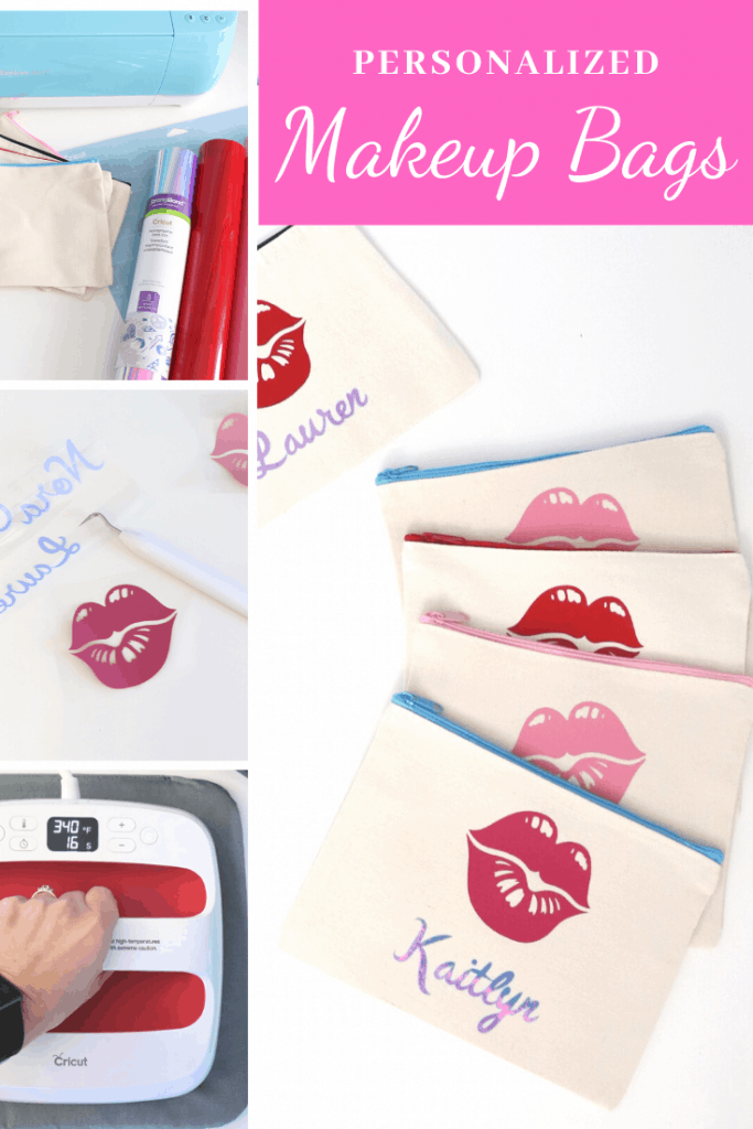 Personalized makeup bags for a spa party
