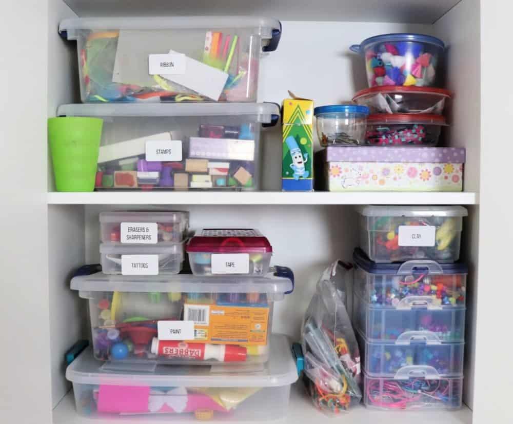 Playroom organization - inside cabinets