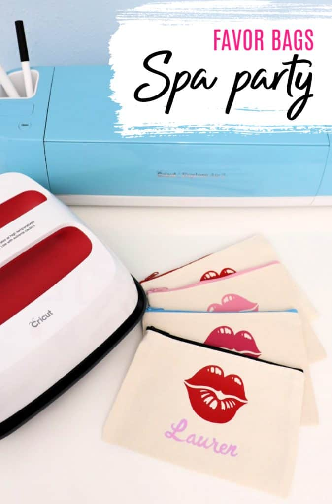 Spa party favor bags made with a Cricut