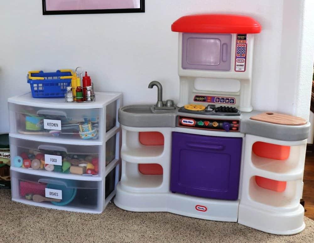 play kitchen playroom organization