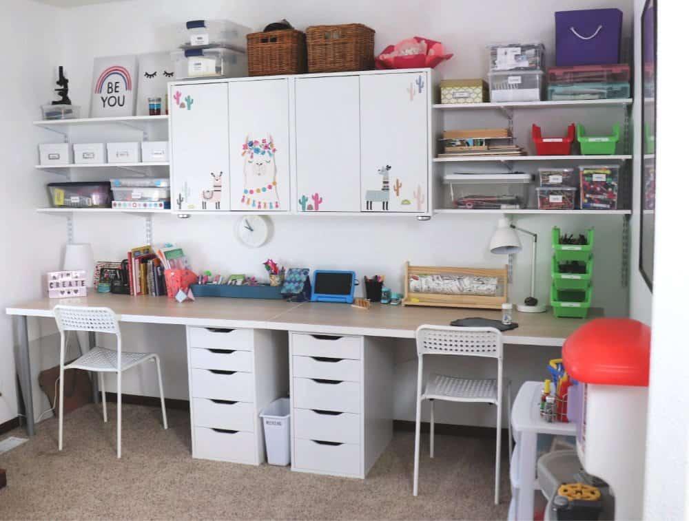 playroom organization desks and bins