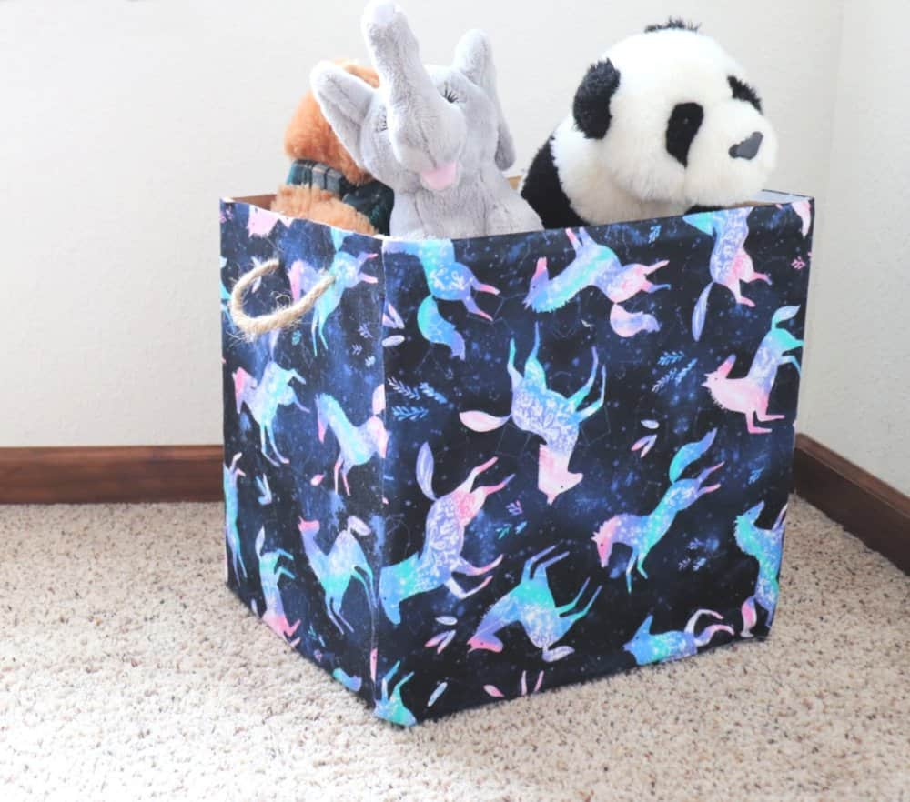 fabric covered cardboard box with handles