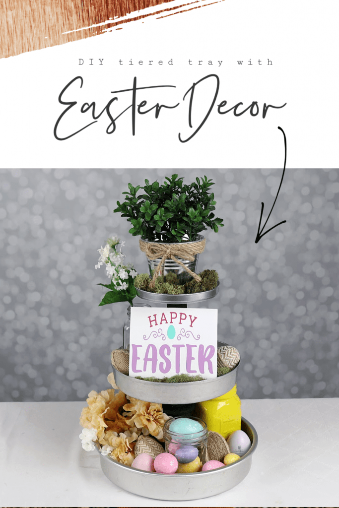 tiered tray with Easter decor