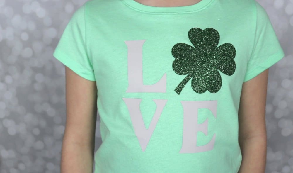 Cricut St. Patrick's Day shirt with shamrock
