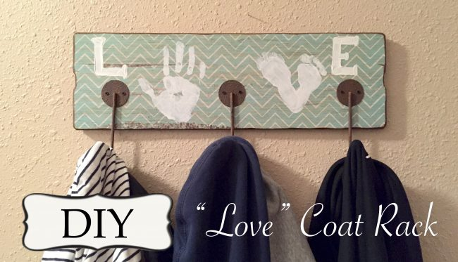 """LOVE"" Kids Handprint Coat Rack"