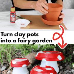 clay pot mushroom fairy garden
