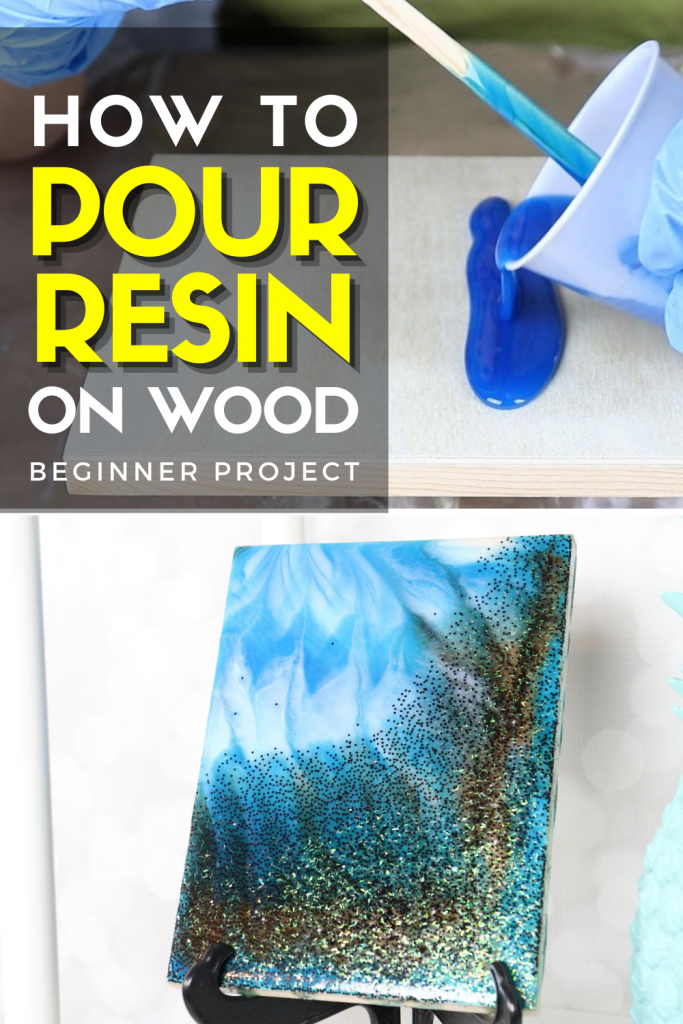Resin pour on wood