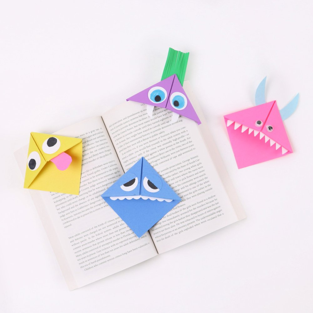 monster origami corner bookmarks