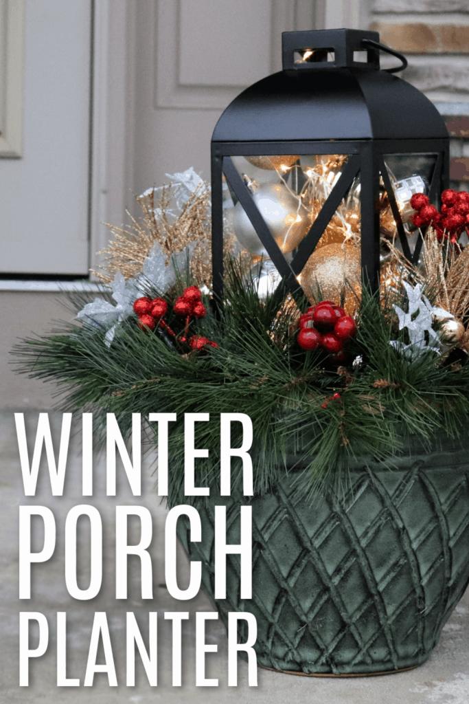 Winter porch planter - christmas planter