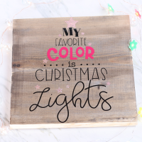Christmas lights vinyl wood sign square