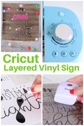 Cricut layered vinyl wood sign