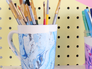 Hydro dipped mug for craft room