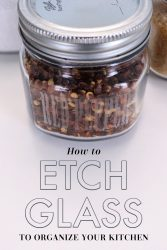 Etched glass kitchen jars