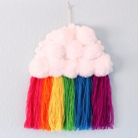 rainbow cloud yarn wall hanging
