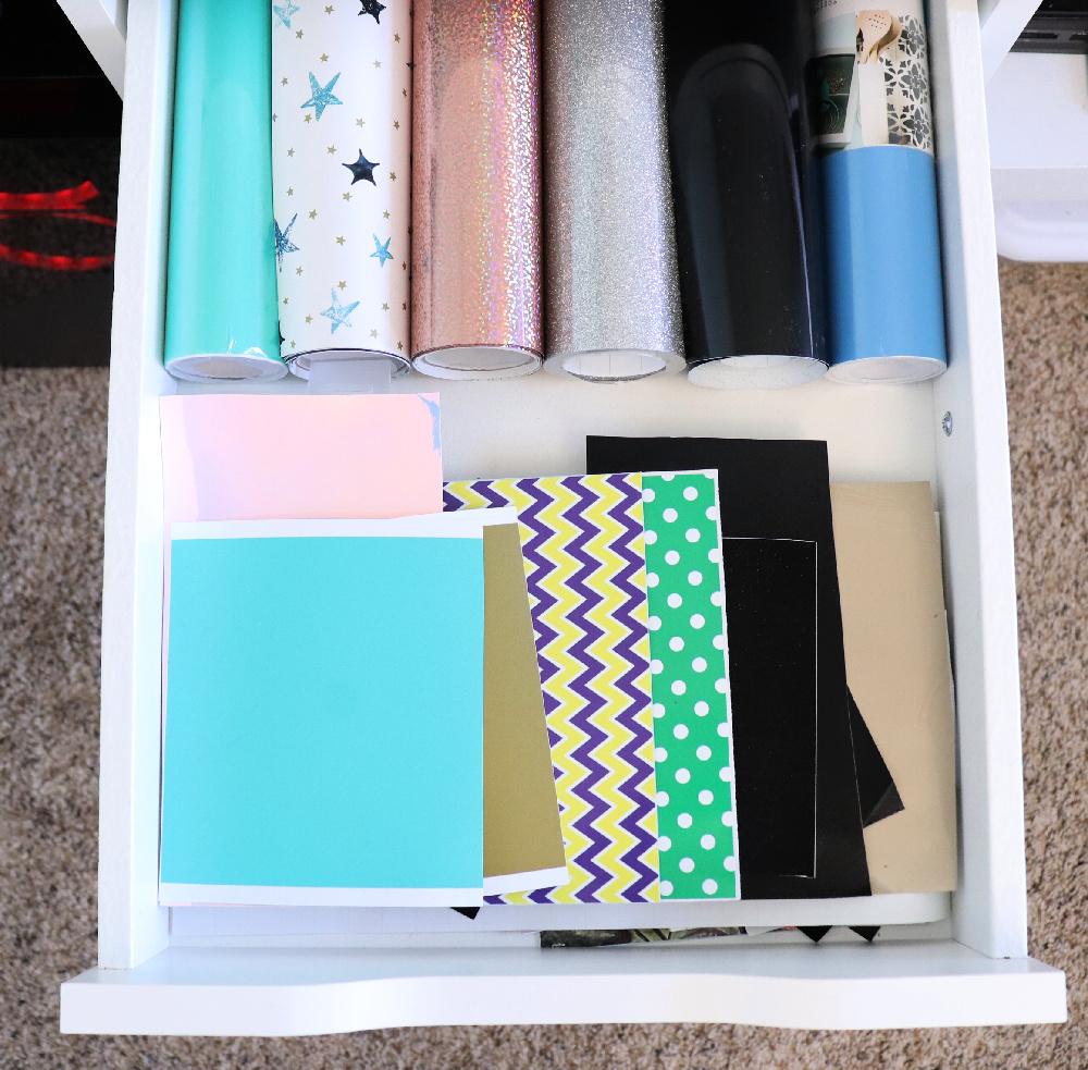 Cricut vinyl in a drawer