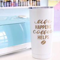 beginner cricut project customer vinyl travel mug