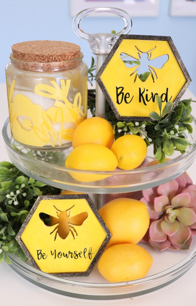 yellow Spring tiered tray with bees and lemons