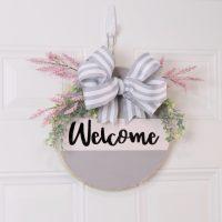 wood round door hanger welcome sign