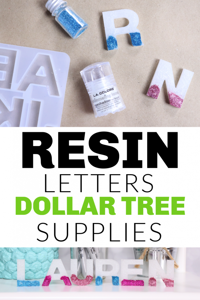 resin letters with Dollar tree eyeshadow